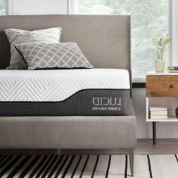 LUCID 10 Inch Twin XL Hybrid Mattress - Bamboo Charcoal and