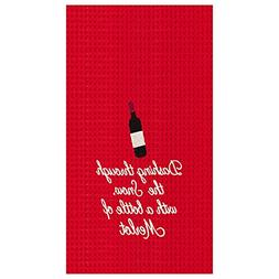 """18x27"""" Christmas Kitchen Towel, """"Dashing...With A Bottle Of"""