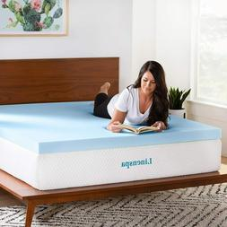 LINENSPA 3 Inch Gel Infused Memory Foam Mattress Topper - Al