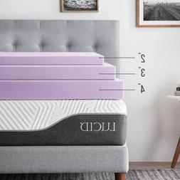 LUCID 3 or 4 inch Lavender Infused Memory Foam Mattress Topp