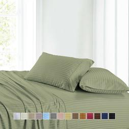 Attached Waterbed Sheets 100% Cotton Stripe Sheet Set For Wa