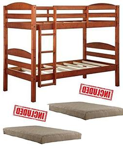 Mainstays Twin over Twin Wood Bunk Bed in Light Cherry Finis