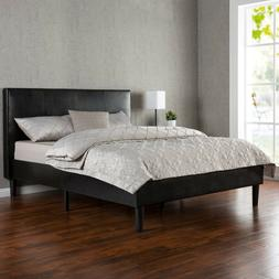 Zinus Deluxe Faux Leather Upholstered Platform Bed with Wood