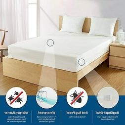BED BUG PROOF ~ Waterproof Zippered Vinyl Mattress Cover ENC