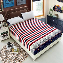 Bed Sheet Geometric Printed Fitted Sheet With Elastic Bed Li