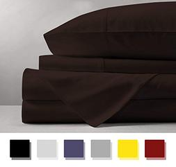 600 Thread Count 4-Piece 100% Cotton Sheets - Chocolate Long