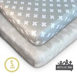 Crib Sheets - 2 Pack Set of Fitted Premium Soft 100% Jersey