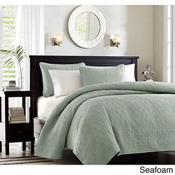 3 Piece 90 x 90 Extra Wide Seafoam Green Quilted Coverlet Fu