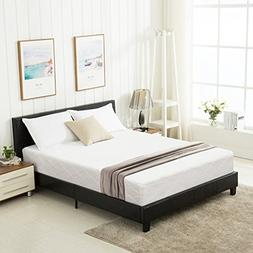 Mecor Faux Leather Bonded Platform Bed Frame/Upholstered Pan