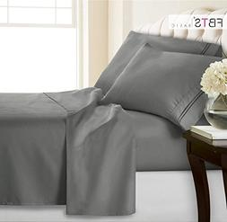 Gray Fitted Sheets Set 4 Piece, Queen - 12 - 18 inch Deep Po
