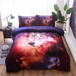 A Nice Night Galaxy Comforter Bedding Sets 3D Wolf Printed S