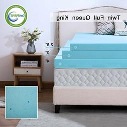 Gel Memory Foam Mattress 2.5/3/4 Inch Blue Topper Ventilated