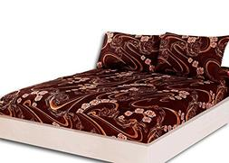 Tache Gold Paisley Brown Floral Fitted Sheet - Melted Gold C