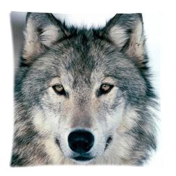 Grey Wolf Face Zippered Pillow Cases Cover Cushion Case 18x1