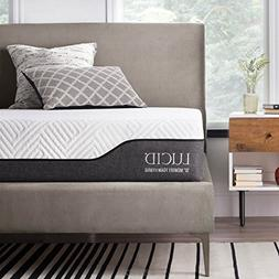 LUCID 10 Inch King Hybrid Mattress - Bamboo Charcoal and Alo