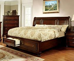 247SHOPATHOME IDF-7683CK Bed-Frames, California King, Cherry