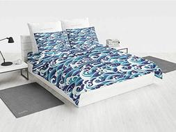 Japanese Wave Twin Girls Bedding Set Traditional Eastern Pat