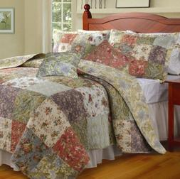 SKB Family King size 100% Cotton Floral Quilt Set with 2 Sha