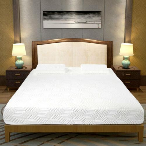 """10"""" Medium-Firm Memory Mattress Bed with White"""