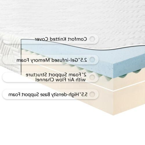 """10"""" Medium-Firm Memory Foam Bed with Pillows White"""