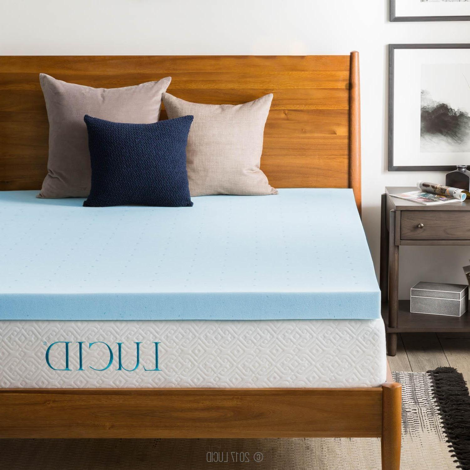LUCID 3 Inch Cooling Gel Memory Foam Mattress Topper - Soft,
