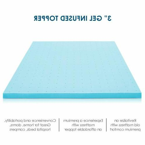 3 inch Memory Mattress Topper Bed Cooling Gel-Infused Size