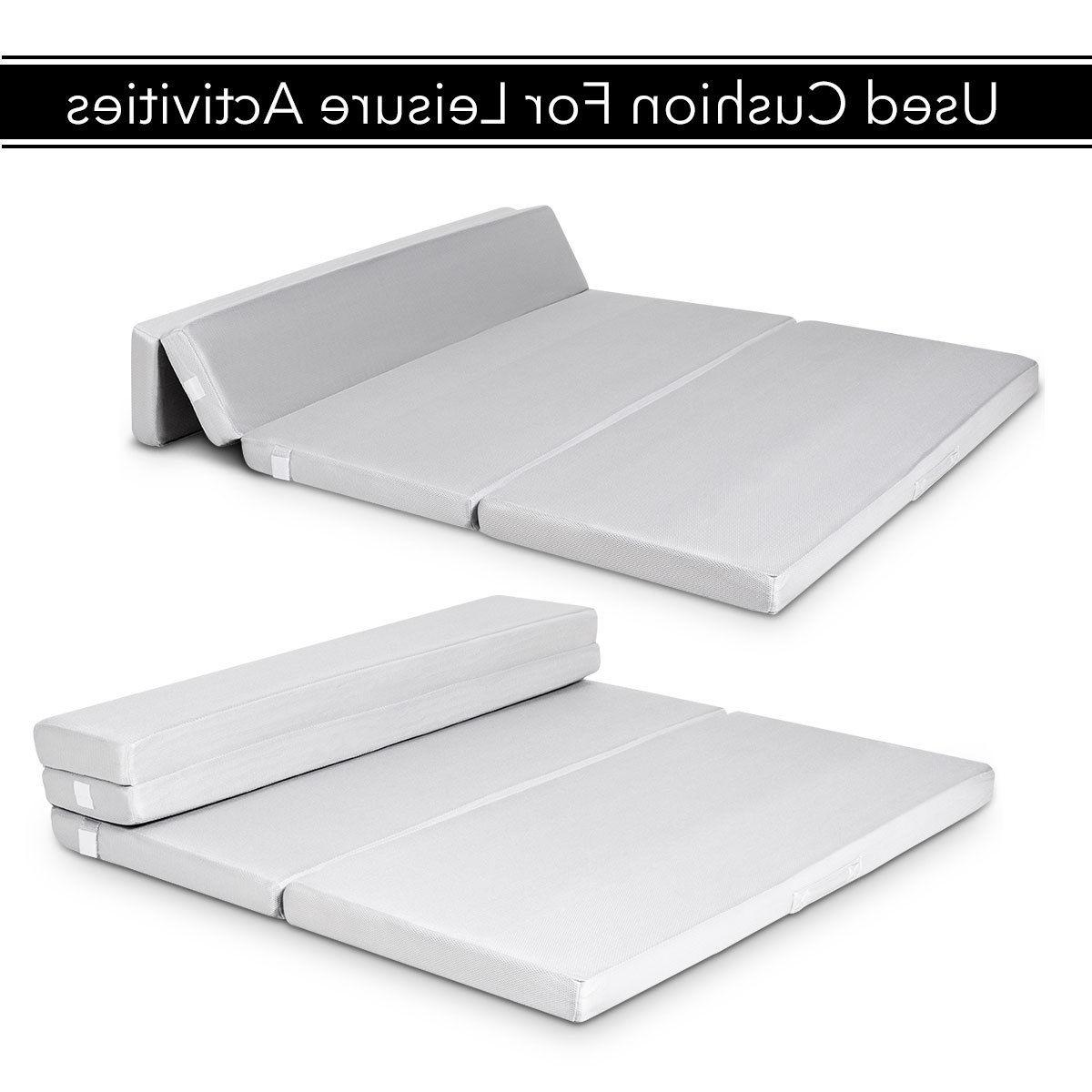 "4"" Full Foam Folding Mattress Sofa Bed Floor Carrying"