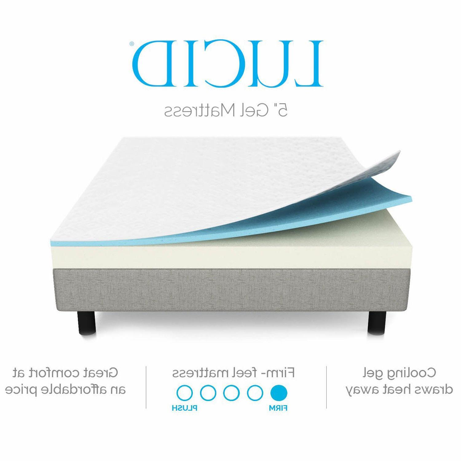 LUCID 5 inch Memory Mattress Layered Feel CertiPUR Cool Sleep
