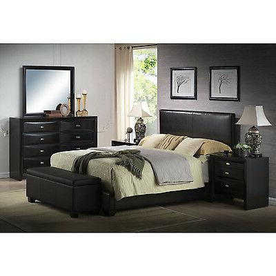 "Black Queen Upholstered Bed w/ 6"" Mattress & Box Spring Home"