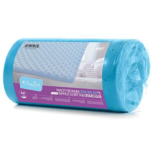 Milliard 2in. Egg Crate Gel Memory Foam Topper Mattress Pad Provides Great Relief, Contributes to Sleep