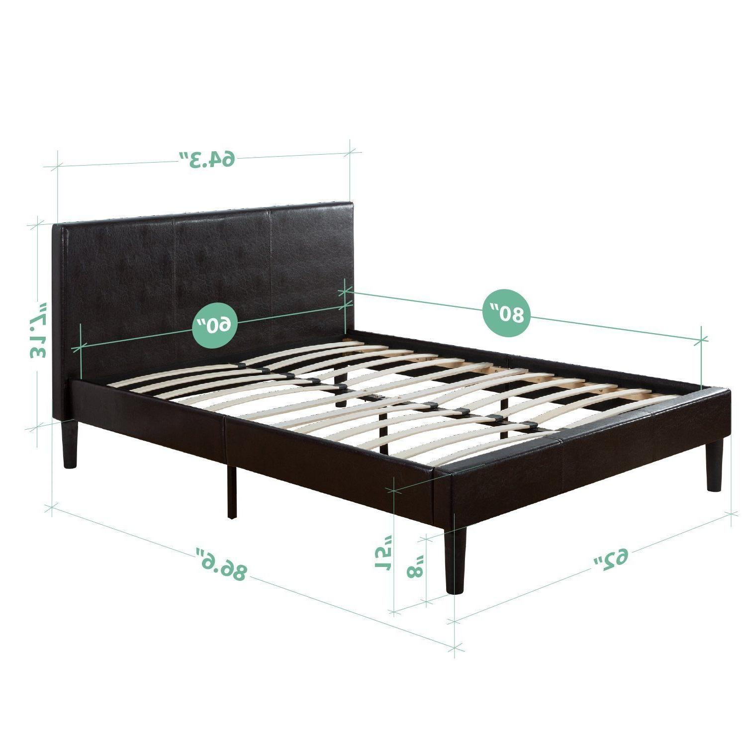 Platform Bed Faux Upholstered Wooden Slats Mattress