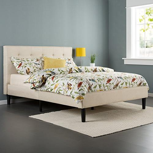 Zinus Ibidun Upholstered Button Tufted Platform Bed with Woo