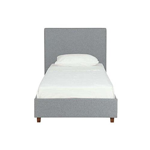 DHP Alexander Upholstered Bed with Wooden Slats Support, Light Grey