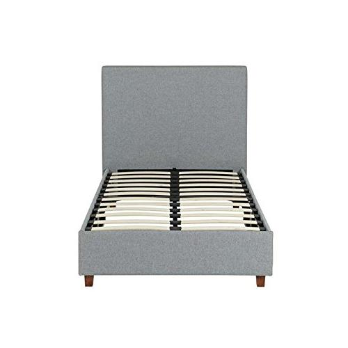 DHP Upholstered Platform Bed with Wooden Support, Grey Linen - Twin
