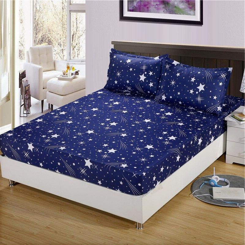 bed sheet with pillowcase geometric printed fitted