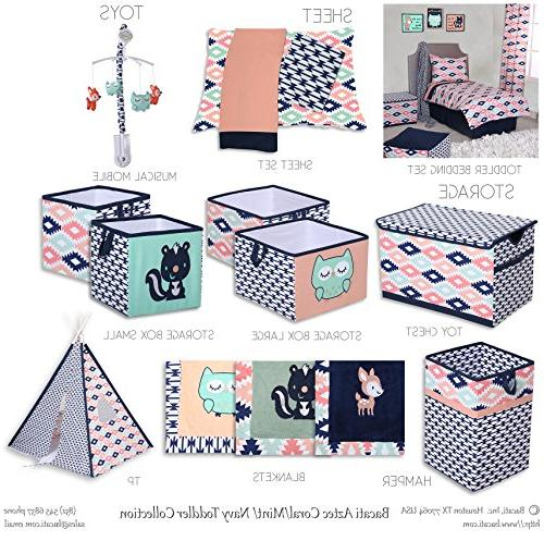 Bacati Piece Toddler Bedding Coral/Mint/Navy