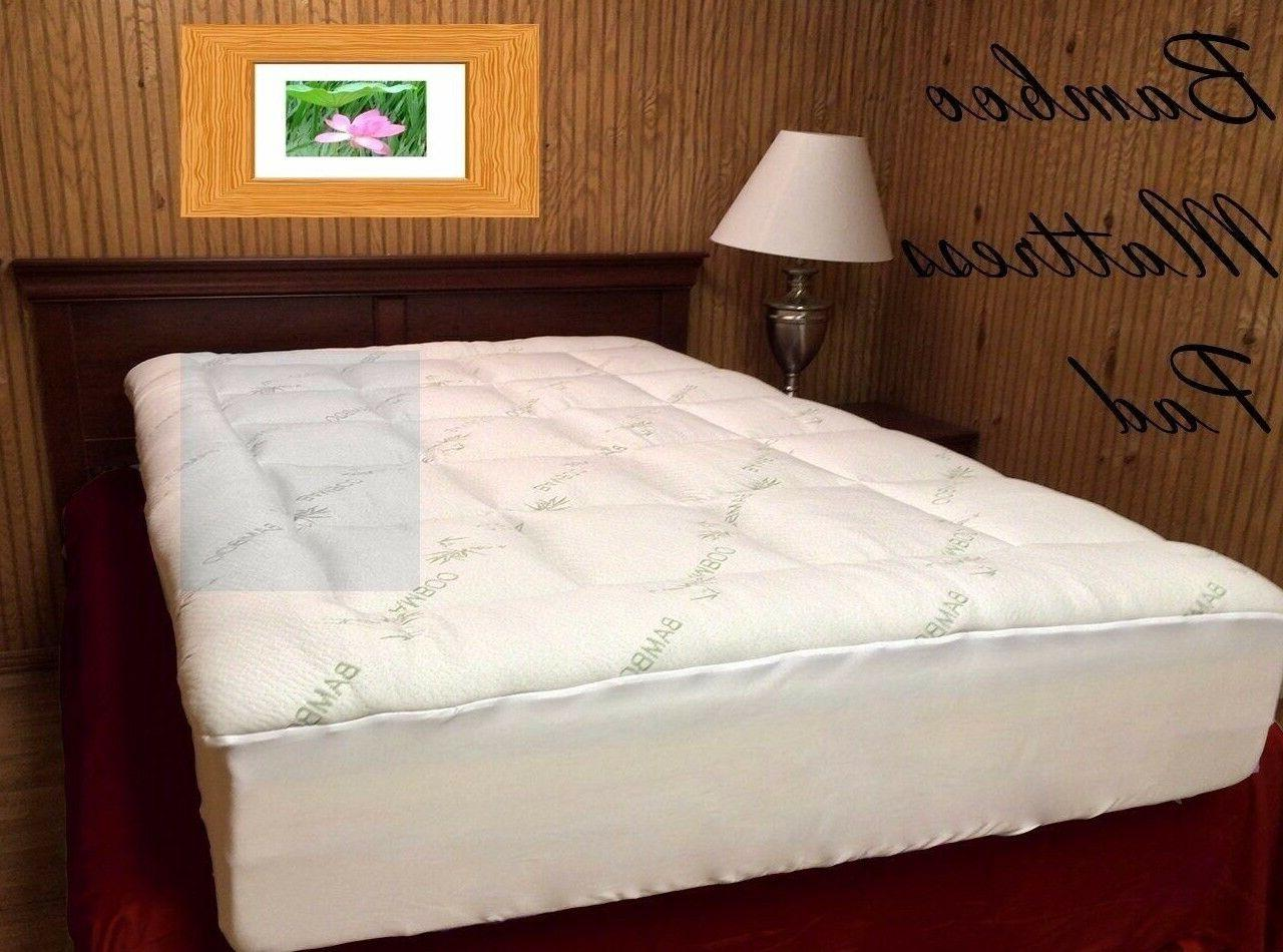 Extra Plush Bamboo Fitted Mattress Pad - FREE FROM CHEMICAL