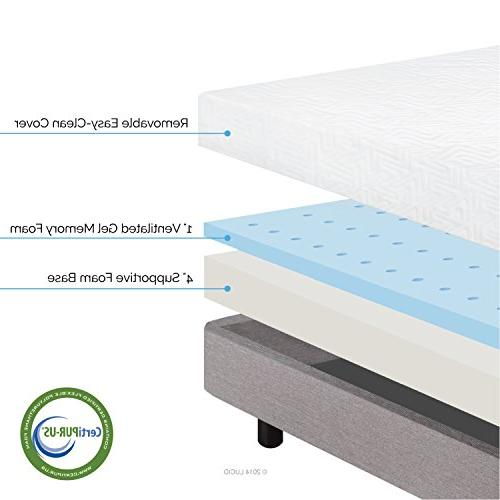 LUCID Memory Foam Dual-Layered CertiPUR-US - Twin Size