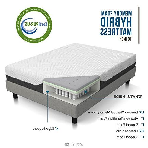 LUCID 10 Inch Queen Hybrid Mattress - Bamboo Charcoal and Infused Moisture Wicking Reducing - CertiPUR-US