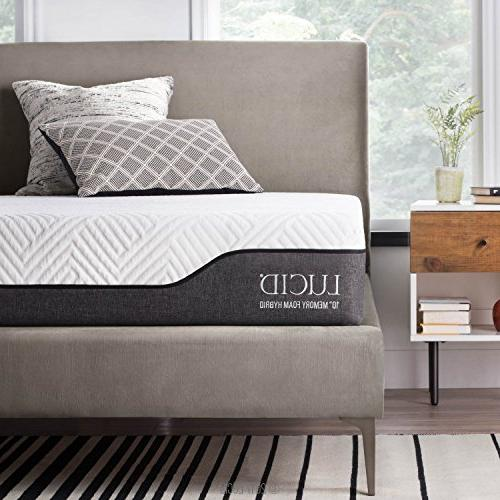 LUCID 10 Queen Hybrid Mattress - Bamboo Charcoal Vera Infused Memory Foam Moisture Wicking - Odor Reducing