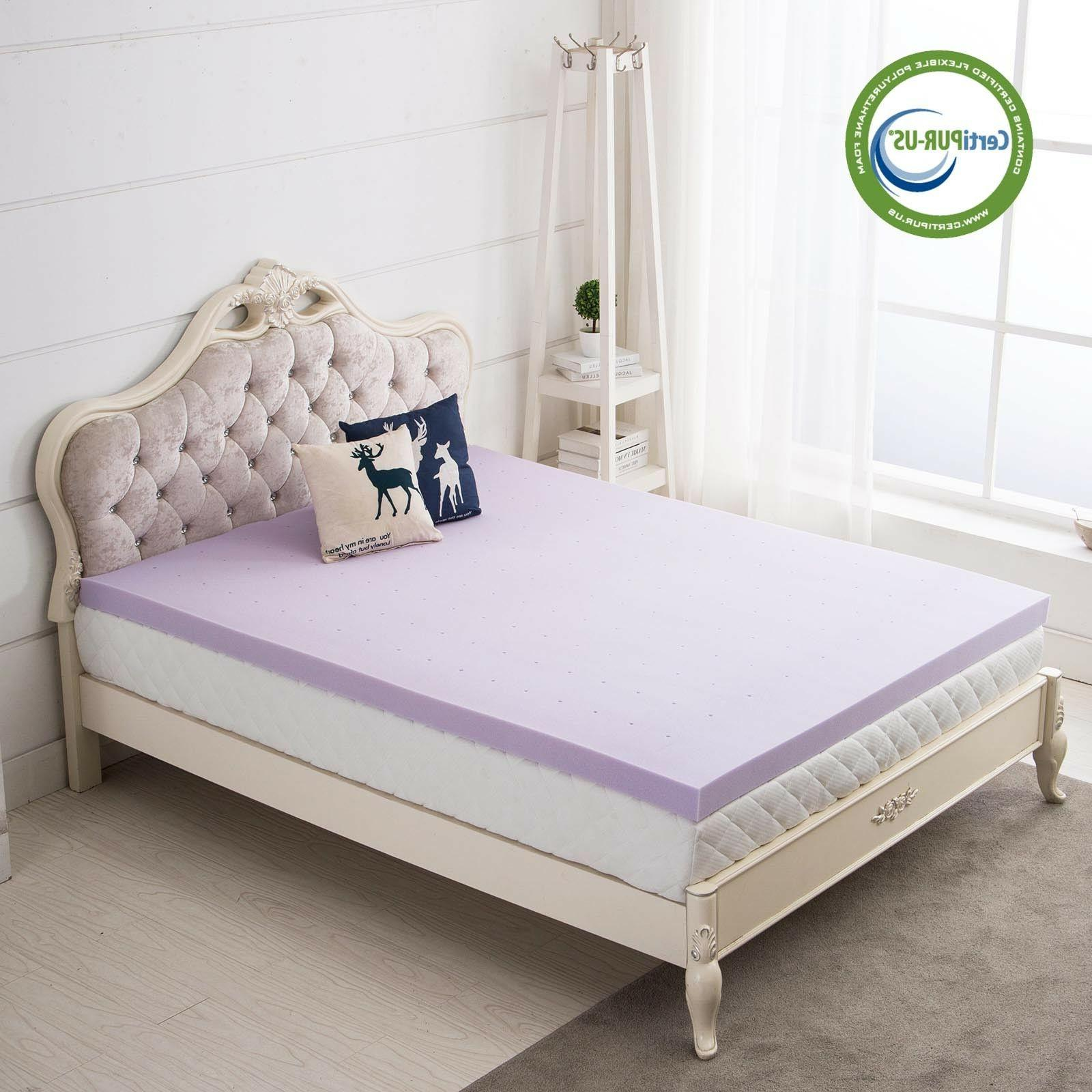Lavender Memory Foam Topper 3 Inch Pad Bed Available
