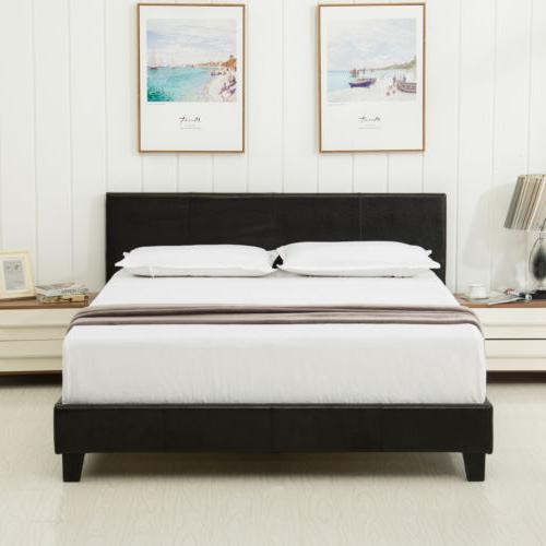 Queen Leather Platform Bed Frame Upholstered Headboard and M