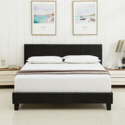 queen leather platform bed frame upholstered headboard