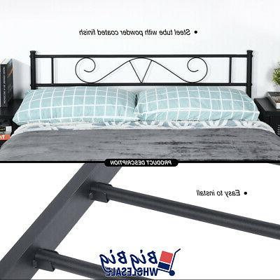 Queen Metal Frame Black Mattress with Headboard Footboard