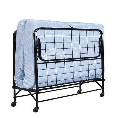 "Folding Bed Cot 5"" Foam Mattress Guest Roll Away Portable Sl"