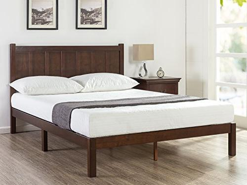 Zinus Wood Rustic Style Platform Bed With Headboard No
