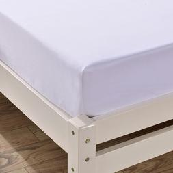 Linen White Fitted Bed Cover Mattress Protective Bedding Wit