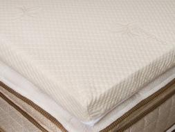 "Natural Latex Mattress Toppers 3"" Soft with Bamboo Cover"