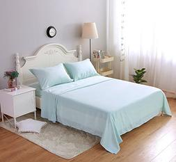 Xiongfeng 4 Pcs Mint Bed Flat Fitted Sheet with Pillow Shams
