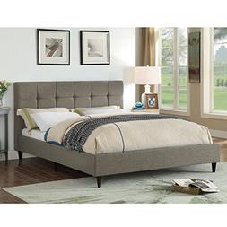 AC Pacific Modern Upholstered Square Stitched Platform Bed w